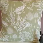 "New Hare Cushion Cover Gorgeous Fabric - Pillow- Sham 16 ""   Vintage Style Hare / Rabbits Sage Green"