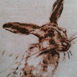 "Hare Cushion Cover Vintage Style Hare / Rabbits  Woodland Scene Gorgeous Fabric Pillow Sham 16 "" Rustic"
