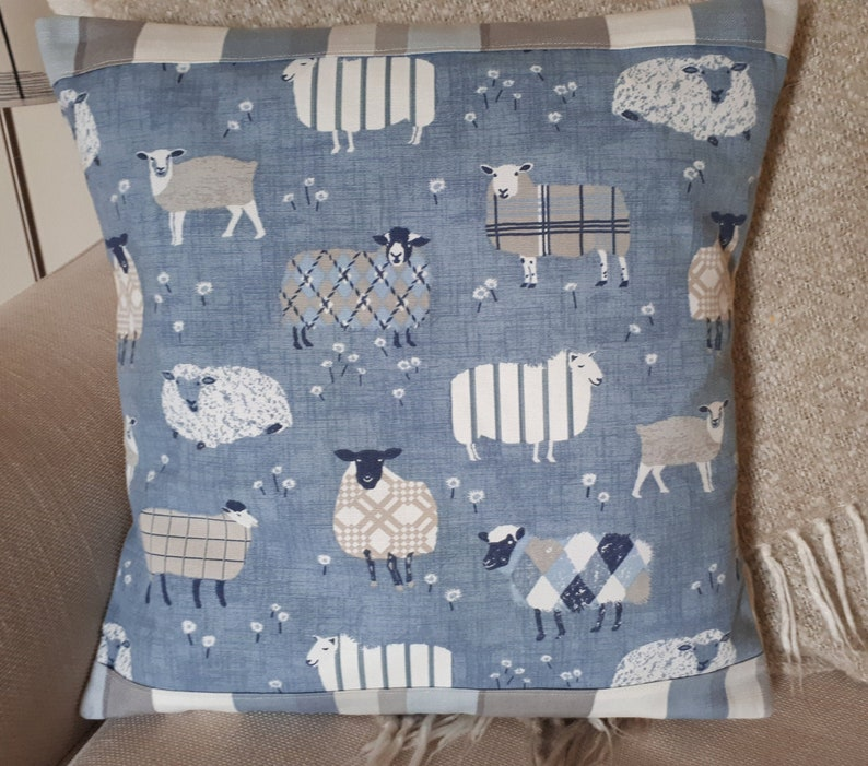 Sheep Cushion Cover Patchwork Fabric Style Lambs Pillow / Sham image 0