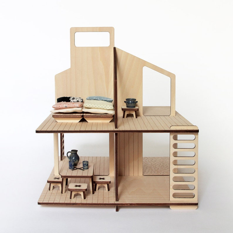 Mini-house wooden modern doll's house flat-packed with a image 0