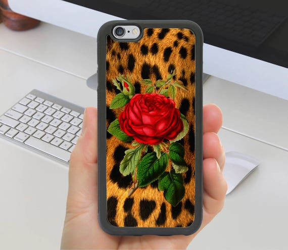 Leopard Animal Print Red Rose Flower Phone Case Iphone 7 Etsy