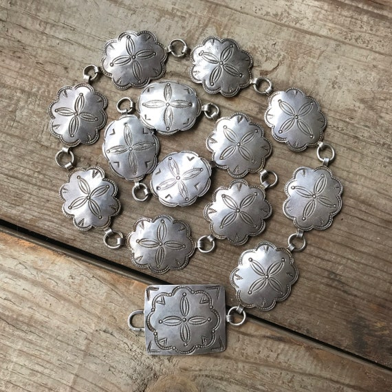 Navajo Coin Silver Concho Belt