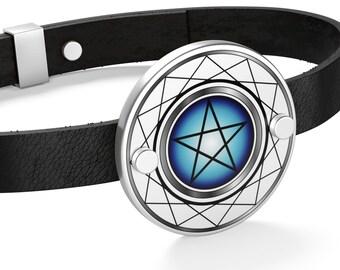 9916f070a9c Inverted Pentagram Leather Bracelet