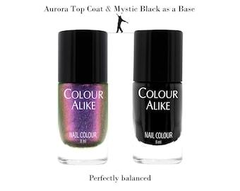 "725 ""Aurora"" ultra hologrphic top coat + Mystic Black"