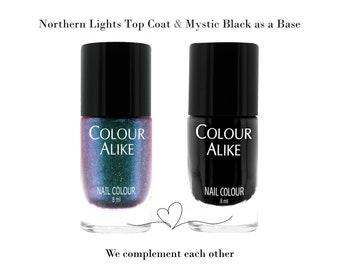 "726 ""Northern lights"" ultra hologrphic top coat + Mystic Black nail polish"