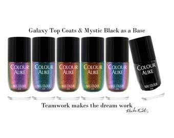 "725-729 ""Galaxy"" ultra holographic top coats set + Mystic Black nail polish"