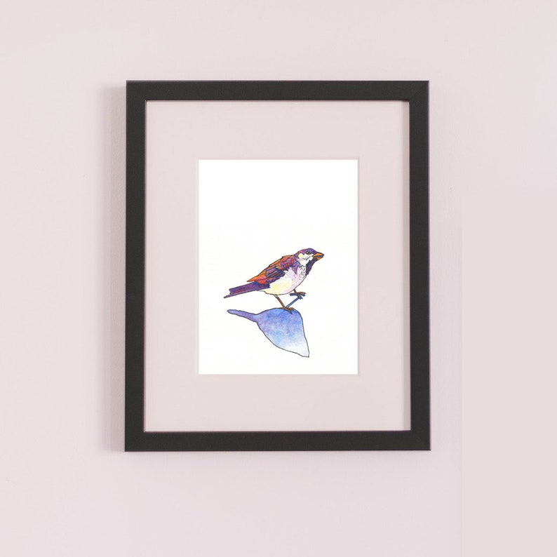 shadow watercolour sparrow bird painting bird art gift fine art print Brighter Tomorrow illustration sparrow painting ink drawing