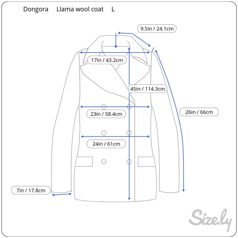 Vintage Dongora Pea Coat Llama Wool Mens Womens L Herringbone Australia Buttons from either side