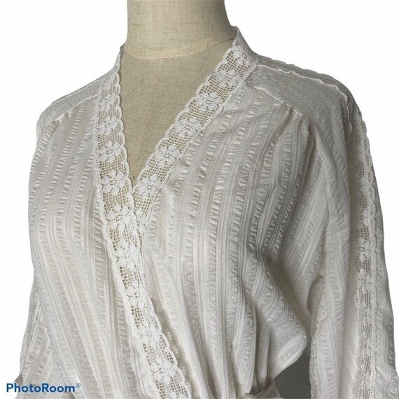 Vintage Miss Elaine Seersucker Wrap Robe Womens  S