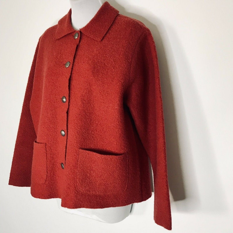 ab78aba32 Vintage LL Bean Boiled Wool Sweater Cardigan Womens M Red