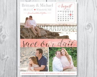 Photo Collage and Calendar Save the Date Magnet and Envelopes