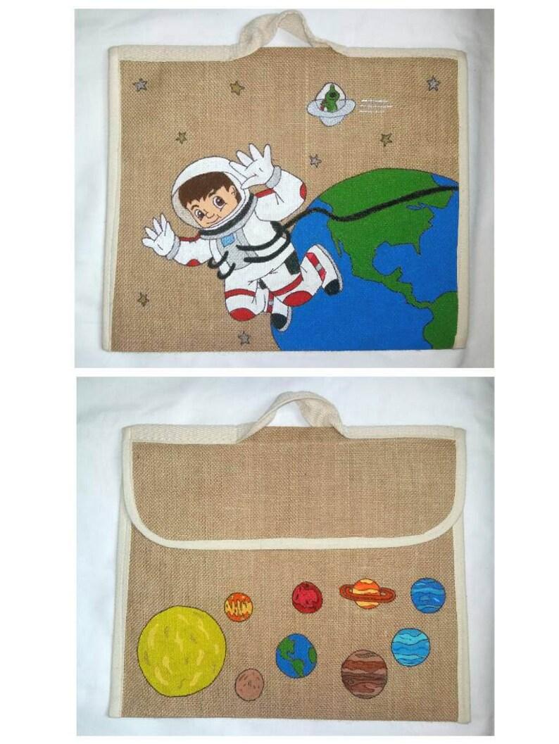 Space school book bag Girl space bag PERSONALISED SCHOOL BAG Primary school bag Eco friendly bag. Boy school bag Hand painted jute bag