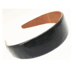 Gator embossed Genuine Leather calfskin Head band 1.5""