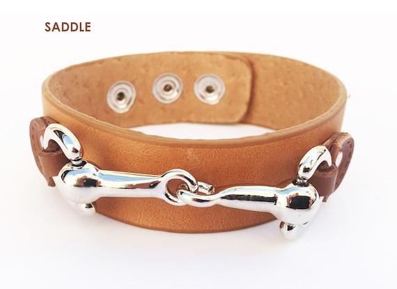Wardani Leather Cuff Bracelet with Silver Snaffle Horse bit Handmade