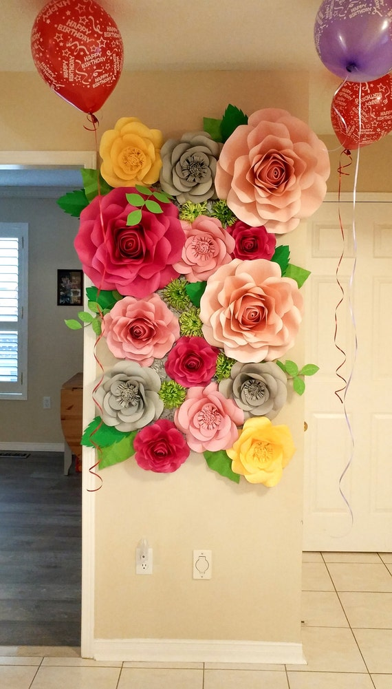 Flower Wall Birthday Party Decor Paper Flowers