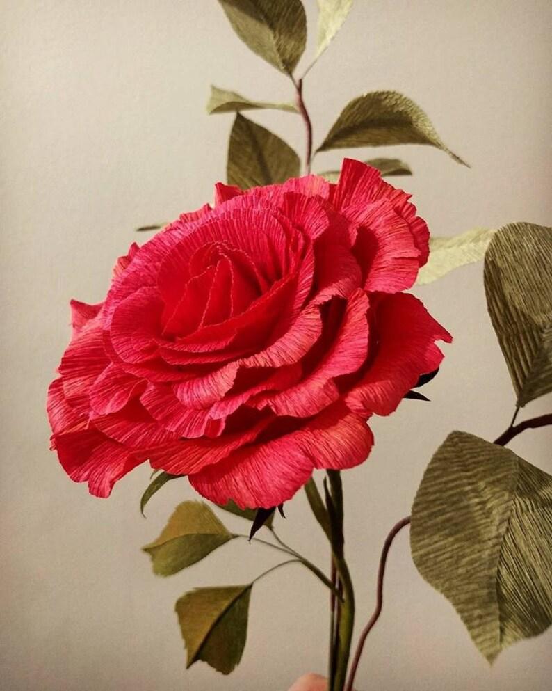 Papier Crépon Rose Papier Rose Tige Simple Fleurs En Papier Etsy
