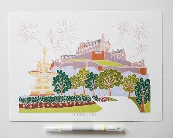 Edinburgh Castle and Ross Fountain Print