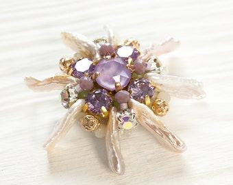 OOAK Swarovski Crystal Brooch and Biva Freshwater Pearls Brooch Lavender Beaded Brooch Purple Pin  Birthdayay Gift for Girlfriend