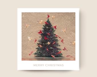 CHRISTMAS GREETINGS CARD – Birds & trees