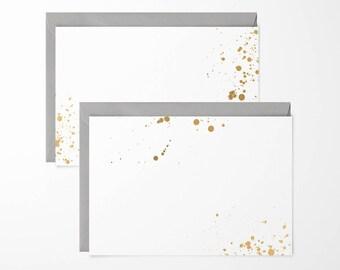 Gold Ink Splash Note Cards - pack of 6