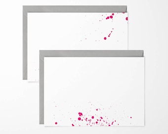 Neon Pink Ink Splash Note Cards - pack of 6