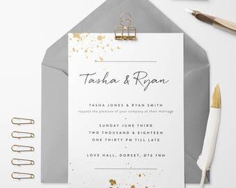 Ink Splash Wedding Invitation
