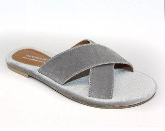5bcea7591e77 Velvet blue grey red pink gold brown anatomic non slippery handmade Greek  Sandals