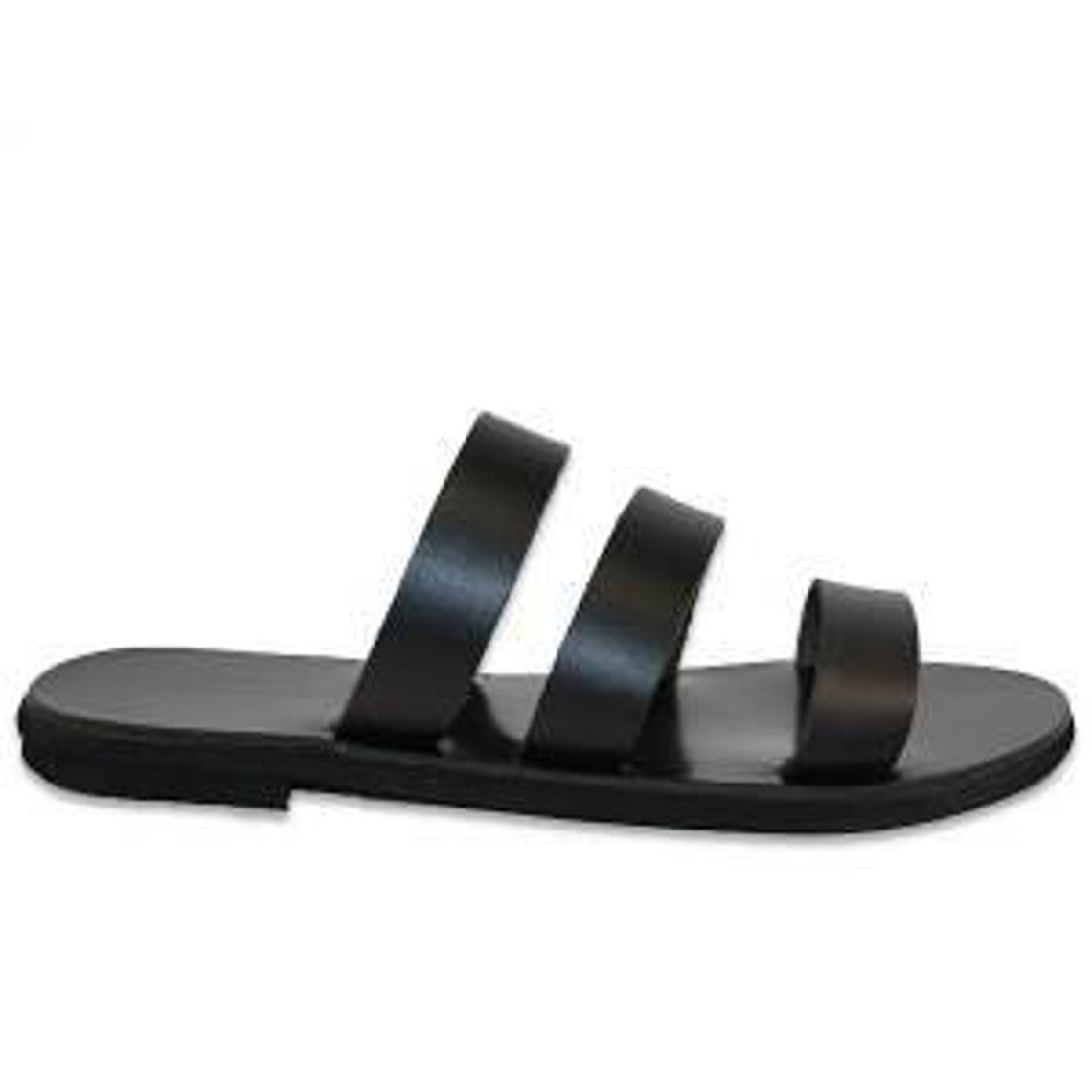 Leather Handmade Greek Sandals Black - Big Sale YITcW
