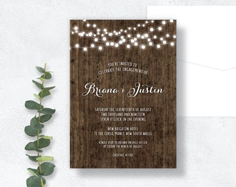 PRINTABLE Engagement Invitations   Digital, Rustic, Wood, Fairy Lights, County, Barn, Timber, Brown, White, String Lights