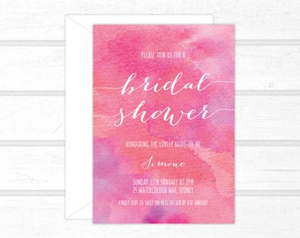 Bridal shower invitation etsy bridal shower invitations pink and white watercolour watercolor digital or printed filmwisefo