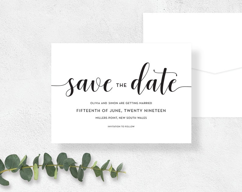 graphic about Printable Save the Date Cards named PRINTABLE Preserve The Day Playing cards Wedding day Invitation, Sophisticated, Ground breaking, Straightforward, Official, Rustic, Electronic, Template, White, Black