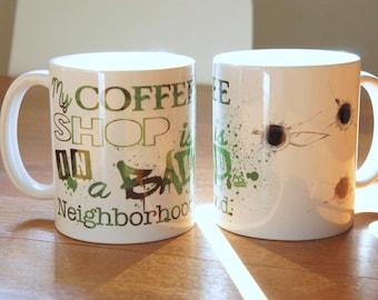 "Mug ""COFFEE SHOP"" - ARROW / Oliver Queen / Felicity Smoak / Stephen Amell / Emily Bett Rickards"