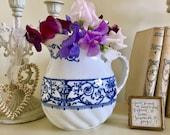 Antique Royal Doulton Jug, Blue and White Jug, Antique Pitcher, Flower Vase, Rare, Antique Collectibles, Vintage Home Decor,