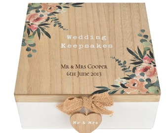 Keepsake Box Custom USB Mother of Pearl Wooden Box Heart Box Bride and Groom Gift Our Memories Couple Newlywed Gifts Wedding Gift