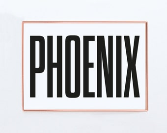 Phoenix, Graphic art, USA, Black and White Art Typography Poster, Arizona wall art, Arizona Poster, Arizona Print, Arizona Art,