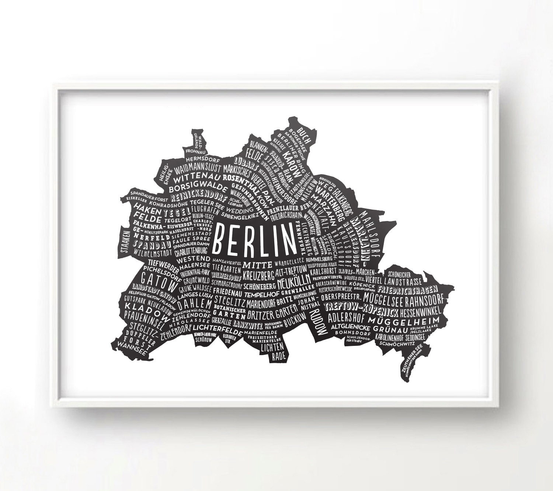 Berlin Stadtplan Deutschland Karte Grafik-Design Poster | Etsy