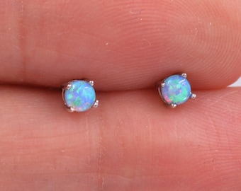 Minimalist Opal Stud Earrings in Sterling Silver, Simulated White or Blue Opal, Tiny Circle Dot Jewellery