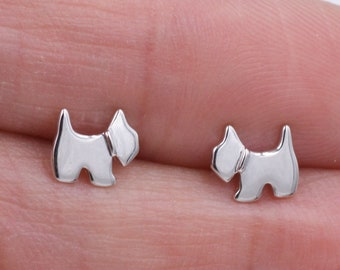 2b8267c6e Sterling Silver Tiny Pair of Little Scottish Terrier Scottie Dog Stud  Earrings Available in two Finishes Cute Fun Quirky Jewellery E45