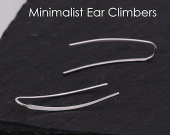 Sterling Silver Minimalist Bar Earrings Ear Climbers, Ear Crawlers, in Silver or Gold