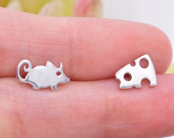 Mouse and Cheese Stud Earrings in Sterling Silver,  Cute Fun Quirky Animal Jewellery, Animal Lover, Nature Inspired