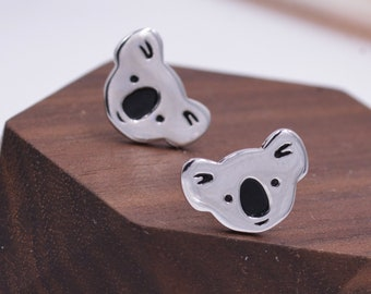 Koala Bear Stud Earrings in Sterling Silver,  Cute Fun Quirky Animal Jewellery, Jewelry Gift for Her, Animal Lover,  Nature Inspired