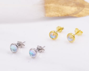 Sterling Silver Moonstone Tiny Stud Earrings, Mermaid Tears, Gold or Silver, Simulated Moonstone Crystal Earrings, Minimalist