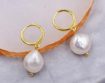 Sterling Silver Baroque Pearl Huggie Hoop Earrings, Drop Earrings with 18ct Gold Plate, Genuine Freshwater Pearls, Irregular Pearls J32