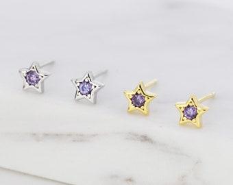 Tiny Amethyst Purple CZ Star Stud Earrings in Sterling Silver, Silver or Gold,  Purple Crystal Star Earrings, Stacking Earrings