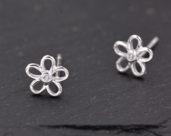 Silver floral earrings FIVER BIRTHDAY friday