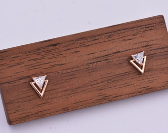 Tiny Double Triangle Arrow Arrowhead Stud Earrings, Rose Gold over Sterling Silver, Chevron Geometric Minimalist Design