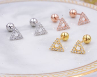 b985b2c4c Small Pair of Open Triangle Stud Earrings in Sterling Silver, Rose Gold,  Silver, Screw Back Earrings - helix, cartilage, conch, tragus K12