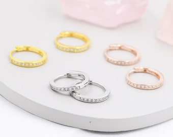 Extra Skinny CZ Crystal Huggie Hoops in Sterling Silver, Silver or Gold or Rose Gold, Minimalist Hoop Earrings, 8mm  and 10mm Hoops