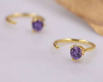 gold Stud Earrings elegant hippize glass orange purple violet ...