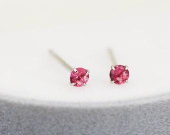 Pink Earrings Minimalist Stud Earrings Post Earrings Hot Pink Seed Bead Earrings Tiny Beadwork Earrings Sterling Silver Minimal Earrings